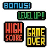 8 Bit Action Sign Cutouts-4 Per Unit