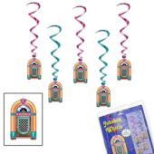 Jukebox Whirl Decorations - 5 Pack