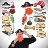 Pirate Photo Booth Props- 12 Pack