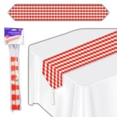 Red Gingham Flower Table Runner