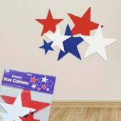Red, White and Blue Star Cutouts - 9 Per Unit