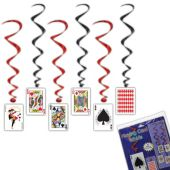 Playing Card Whirl Decorations - 5 Per Unit