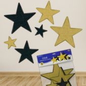 Black & Gold Glitter Star Cutouts - 6 Per Unit