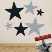 Black & Silver Glitter Star Cutouts - 6 Per Unit