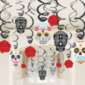 Sugar Skull & Roses Whirl Decorations-30 Pack