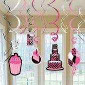 Pink Zebra Birthday Swirl Decorations-12 Pack