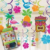 Summer Luau Swirl Decorations-8 Pack