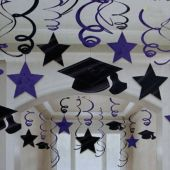 Purple Graduation Swirls Decorations-30 Pack