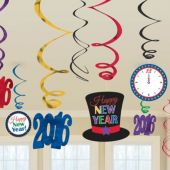 2016 Happy New Year Colorful Swirl Decorations-12 Pack