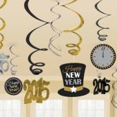 2015 Happy New Year Swirl Decorations-12 Pack