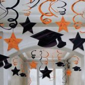 Orange Graduation Swirl Decorations-30 Pack