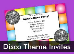 Personalized Disco Theme Invitaitons