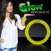 "8"" Yellow Supreme 6mm Glow Bracelets 50 Per Tube"