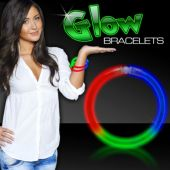 "9"" Blue-Green-Red 6mm Tri Color Glow Bracelets 50 Per Tube"