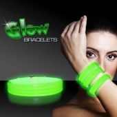 "9"" Deluxe Green Triple Wide Glow Bracelets  25 Per Tube"