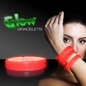"9"" Deluxe Red Triple Wide Glow Bracelets  25 Per Tube"