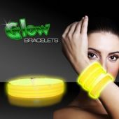 "Yellow Glow Triple Wide Bracelets-9""-25 Pack"