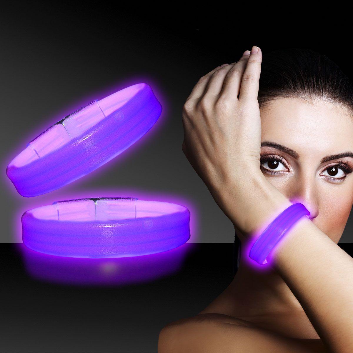 """Purple Triple Wide Glow Bracelets-9""""""""- 25 Pack"""" GBT304UN"""