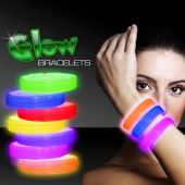 "Deluxe Assorted Color 9"" Triple Wide Glow Bracelets - 25 Pack"