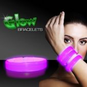 "Pink Glow Triple Wide Bracelets-9""-25 Pack"