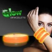 "9"" Deluxe Orange Triple Wide Glow Bracelets  25 Per Tube"