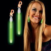 Green Glow Clip On Earrings