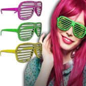 Neon Sparkle Slotted Glasses - 12 Pack