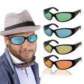 Colored Lens Black Wrap Sunglasses-12 Pack