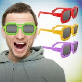 Pixel Mirrored Sunglasses-12 Pack