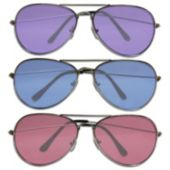 Aviator Sunglasses with Assorted Color Lenses – 12 Pack
