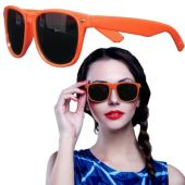 Orange Plastic Frame Wayfarer Sunglasses – 12 Pack