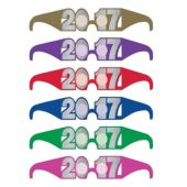 Multi-Color 2017 Glitter Glasses - 6 Per Unit