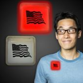 American Flag Red Glow Badge-3""