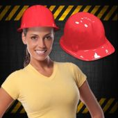 Red Plastic Construction Hats - 12 Pack