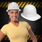 White Plastic Construction Hats - 12 Pack