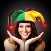 LED Light Up Mardi Gras Velvet Jester Hat