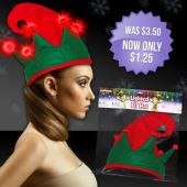 Flashing Red And Green LED Elf Hat