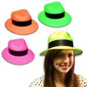 Assorted Color Neon Plastic Gangster Hats - 12 Pack