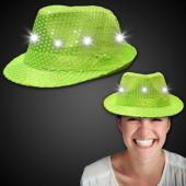 Neon Green LED Sequin Fedora