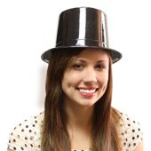 Black Plastic Top Hats - 12 Pack