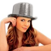 Silver Sequin Top Hat