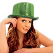 Green Sequin Top Hats