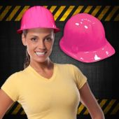 Hot Pink Plastic Construction Hats - 12 Pack