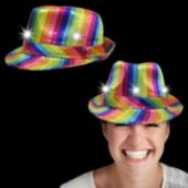 Rainbow Sequin LED Fedora