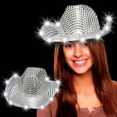 Silver LED Sequin Cowboy Hat