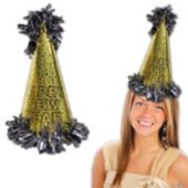 Happy New Year Gold Cone Hat-15""