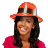 Red Plastic Fedora Hats-12 Pack