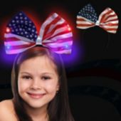 USA Flag Bow Light Up Headband