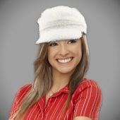 White Furry Biker Hat