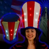 Flashing Patriotic LED Stove Top Hat